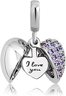 LovelyJewelry I Love You Heart Dangle Charms Bead for Charms Bracelet