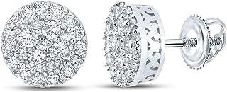 FB جواهر الذهب الأبيض 10kt رجل جولة الماس العنقودية أقراط 5/8 Cttw
