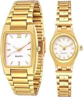Top Trick Analogue Golden White Dial Watch for Men & Women Couple .(TWK-108)