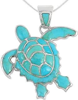 Turtle Pendant Necklace in Sterling Silver 925 & Genuine Gemstones