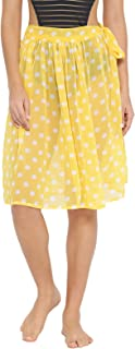 Clovia Women's Sheer Polka Print Beach Skirt in Light Yellow - Georgette