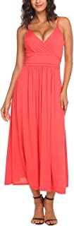Beyove Women's Sleeveless V Neck Crossover Ruched Waist Slimming Swing Dress