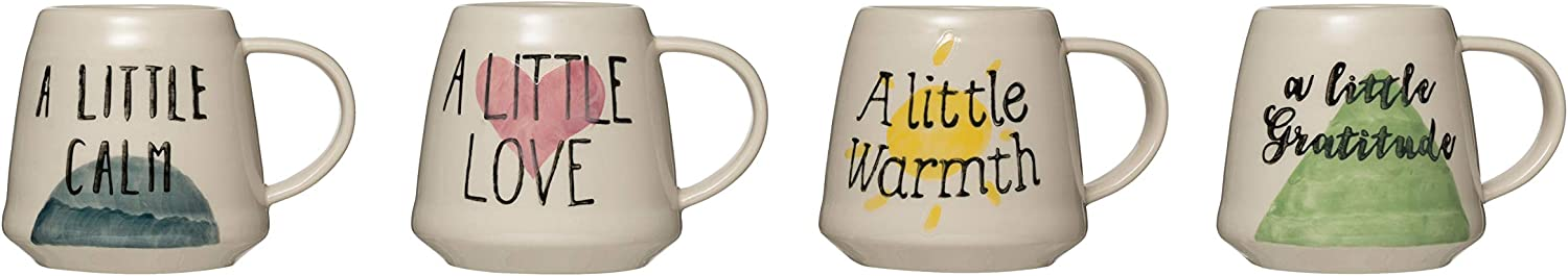 Online limited product Creative Co-Op 12 oz. Hand-Painted Stoneware M Jacksonville Mall of 4 Saying Set