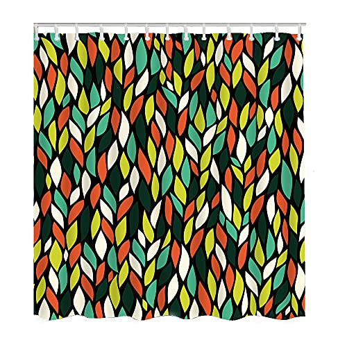 Wondertify Leaf Shower Curtain Green Yellow White and Orange Floral Waterproof Shower Curtains for Bathroom with 12 Grommet Hooks 60X72 Inch