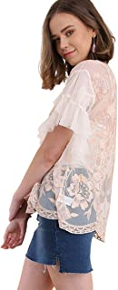 Umgee Women's Embroidered Ruffled Sleeve Sheer Lace Top