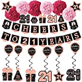 21st Birthday Decorations for her - (21pack) Cheers to 21 Years Rose Gold Glitter Banner for her, 6 Paper Poms, 6 Hanging Swirl, 7 Decorations Stickers. 21 Years Old Party Supplies Gifts for her