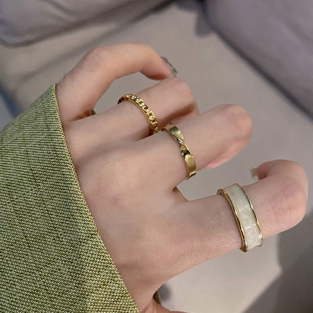 Aimimier Gothic Knuckle Ring Set 3 Pcs Half Open Finger Ring Minimalist Midi Ring Pack for Women and Girls (White)