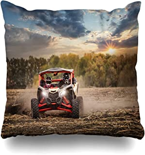 Ahawoso Throw Pillow Covers Freedom Action Racing Quad Bike Two Pilots Helmets Parks Car Sports Recreation Adventure Automobile Home Decor Zippered Pillowcase Square Size 18 x 18 Inches Cushion Case