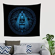 Mandala Vintage Azul Nórdico vikingo guerrero celta Odin cuervo árbol de la vida Knot tatuaje pared pared tapiz fantasía gobelin pared tapiz toalla playa cabecero tela de fondo 200x150cm blanco