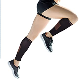 Thx4 Copper Calf Compression Sleeves (15-20mmHg)-Guaranteed Copper Infused Leg Compression Socks-Shin Splint & Pain Relief - Great for Workout,Travel,Maternity, Running, Cycling, Nurses(1Pair)