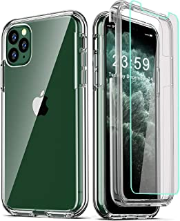 COOLQO Compatible for iPhone 11 Pro Max Case, with 2 x Tempered Glass Screen Protector Clear