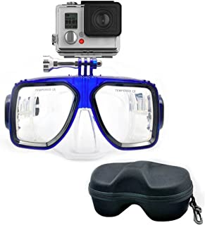 OUTAD Gafas Máscaras de Buceo Submarinismo Compatibles con Cámara GoPro Hero 1, 2, 3, 3+, 4 con Estuche Soporte para Cámara Color Negro