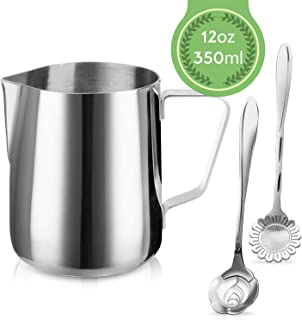 Milk Frothing Pitcher Jug – 12oz/350ML Stainless Steel Coffee Tools Cup –..
