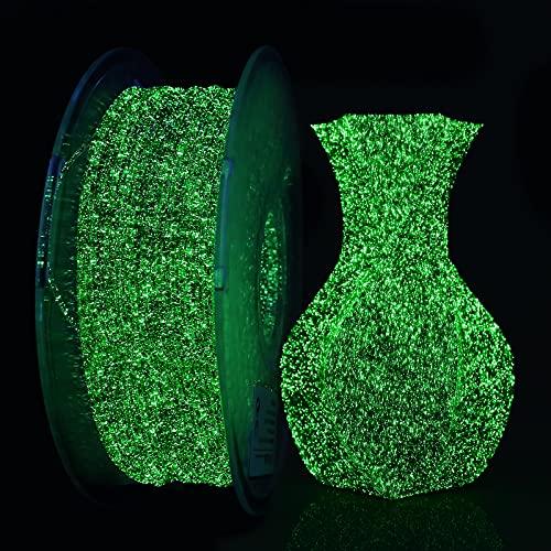 AMOLEN Filamento PLA 1.75, Filamento Stampante 3D, Filamento Glow in the Dark Cielo Stellato, Shiny Glow Verde Materiale PLA per Stampa 3D 1KG
