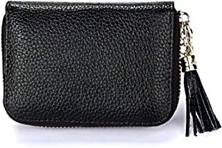 Dlife Genuine Cowhide Leather Wallet Zipper Accordion Pendant Tassel RFID Blocking 15 Card Slots Small Credit Card Wallet for Women (Black)