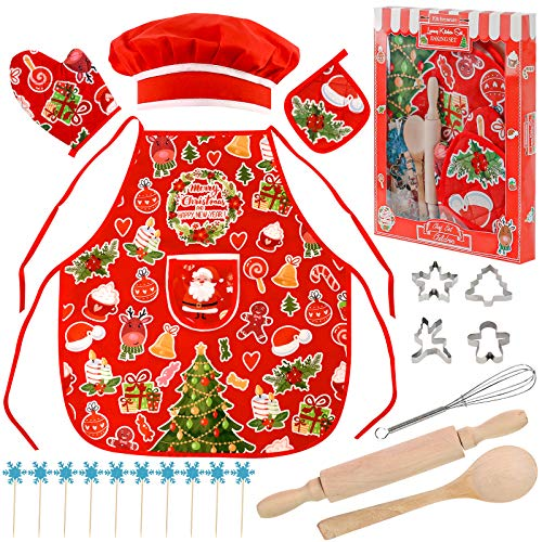 3 otters Chef Costume for Kids, 21PCS Kids Chef Set Kids Christmas Apron Fun Cooking and Baking Set Christmas Dinner Party Cooking