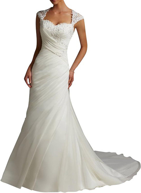 SecretCastle Women's Lace Sweetheart Mermaid Train Bride Gown Wedding Dress