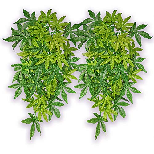Reptile Plants,2Pack Hanging Silk Terrarium Plant,Habitat Amphibian Accessories Enclosure Decor Tank Decoration Vines for Climbing, Reptiles Terrarium Decorate Grass Leaf with Suction Cup Fish Aquatic