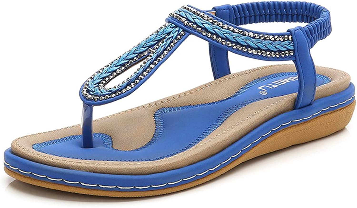 Tuoup Womens Leather Jeweled Fashion Thong Sandals Sandles