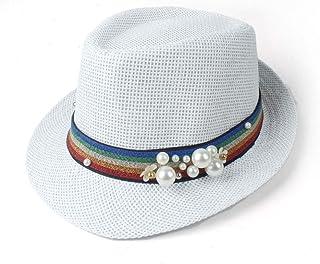 Songlin @ yuan Women's Straw Hat Sun Hat Elegant Summer Beach Travel Fedora Fascinator Panama Sunbonnet Sunhat (Color : White, Size : 57CM)