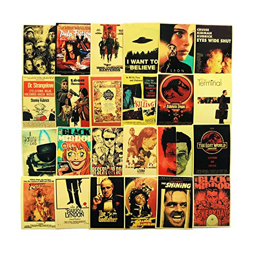 YellowCult™ 54pcs Classic Movies Random No-Duplicate Posters Vinyl Stickers Pack to Customize Laptop, MacBook, Refrigerator, Bike, Skate Board, Luggage [Waterproof Stickers - Cult Movie Collection]
