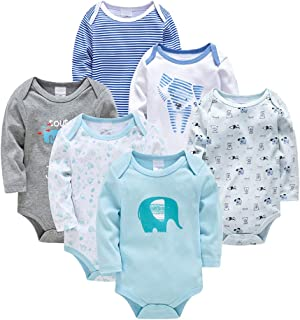 Bebé Body 6 Pcs Mamelucos Pijama Manga larga Monos Algodón Ropa Peleles Onesies Trajes Chalecos Recien Nacido Niños Regalo...