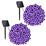 Toodour Solar Purple String Lights, 2 Packs 72ft 200 LED 8 Modes Outdoor String Lights, Waterproof Solar Fairy Lights for Garden, Patio, Fence, Holiday, Party, Balcony Halloween Decorations (Purple)