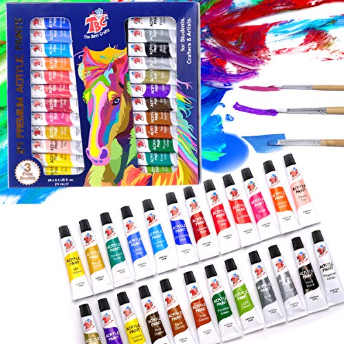 TBC The Best Crafts 24 Colors(12ml/Tube) Acrylic Paints for Artists(24 Basic & Metallic Colors), Ideal Acrylic Art Set for Canvas, Wood, Rock Painting, School/Classroom Art Supplies for Kids & Adults