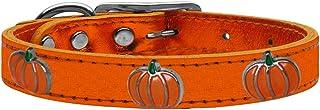 طوق من الجلد الطبيعي ذو لمعة معدنية للكلاب مع حليات على شكل يقطين، مقاس 22، من ميراج بت برودكتس 83-115 OrM22، برتقالي
