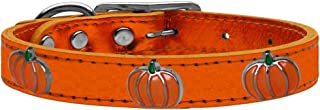 Mirage Pet Products 83-115 OrM22 Pumpkin Widget Genuine Metallic Leather Dog Collar, Size 22, Orange