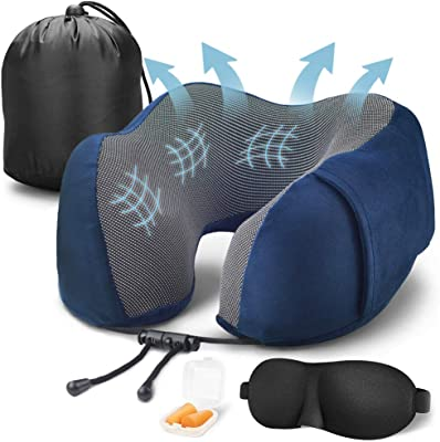 Cabepow Travel Pillow 100% Pure Memory Foam Neck Pillow for Airplanes, Super Soft & Comfortable Pillow, Machine Washable, Airplane Travel Kit with 3D Contoured Eye Masks,Earplugs,and Luxury Bag,Blue