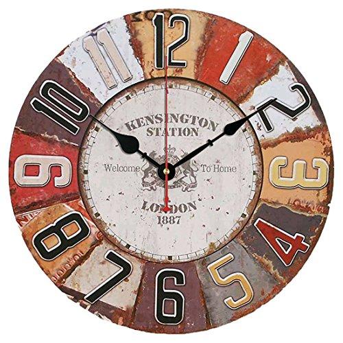OviTop YOAI Wanduhr Vintage Uhr 30cm Dekorative Wanduhr Lautlos Ruhige Wanduhr ohne Tickgeräusche für Küche Büro Wohn- und Schlafzimmer (London 1887)