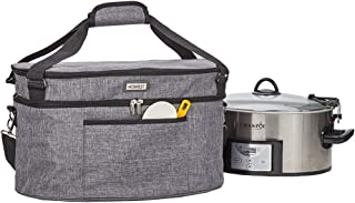HOMEST Slow Cooker Travel Bag with Easy to Clean Lining, Insulated Carrier with Zippered Accessory Pocket, Carry Case Comp...