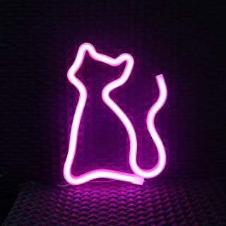LED Neon Signs for Wall Decor,USB or Battery Operated,Night Lights Lamps Art Decor,Wall Decoration Table Lights,Decorative for Home Party Living Room (Cat-Pink)
