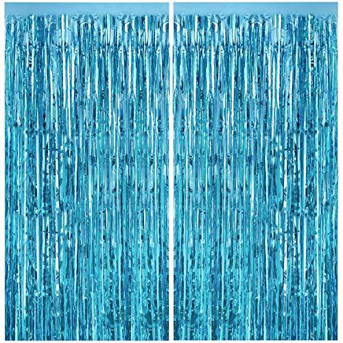 CHRORINE 2pcs 3ft x 8ft Light Blue Metallic Tinsel Foil Fringe Curtains Backdrop for Mermaid Spongebob Baby Shark Birthday Party Decorations, Bachelorette Bridal Shower Holiday Party Decorations