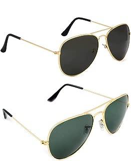 Dervin Aviator Men's and Women's Sunglasses Combo (Black, Green) - Pack of 2
