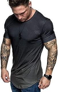 Men's Short Sleeve Tops Summer Crewneck Casual Slim-Fit Tee Gradient Color Shirts Blouse