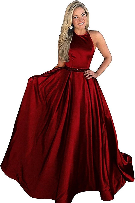 Ellystar Women's Halter Sleeveless Beaded Zipper Back Satin ALine Prom Dresses