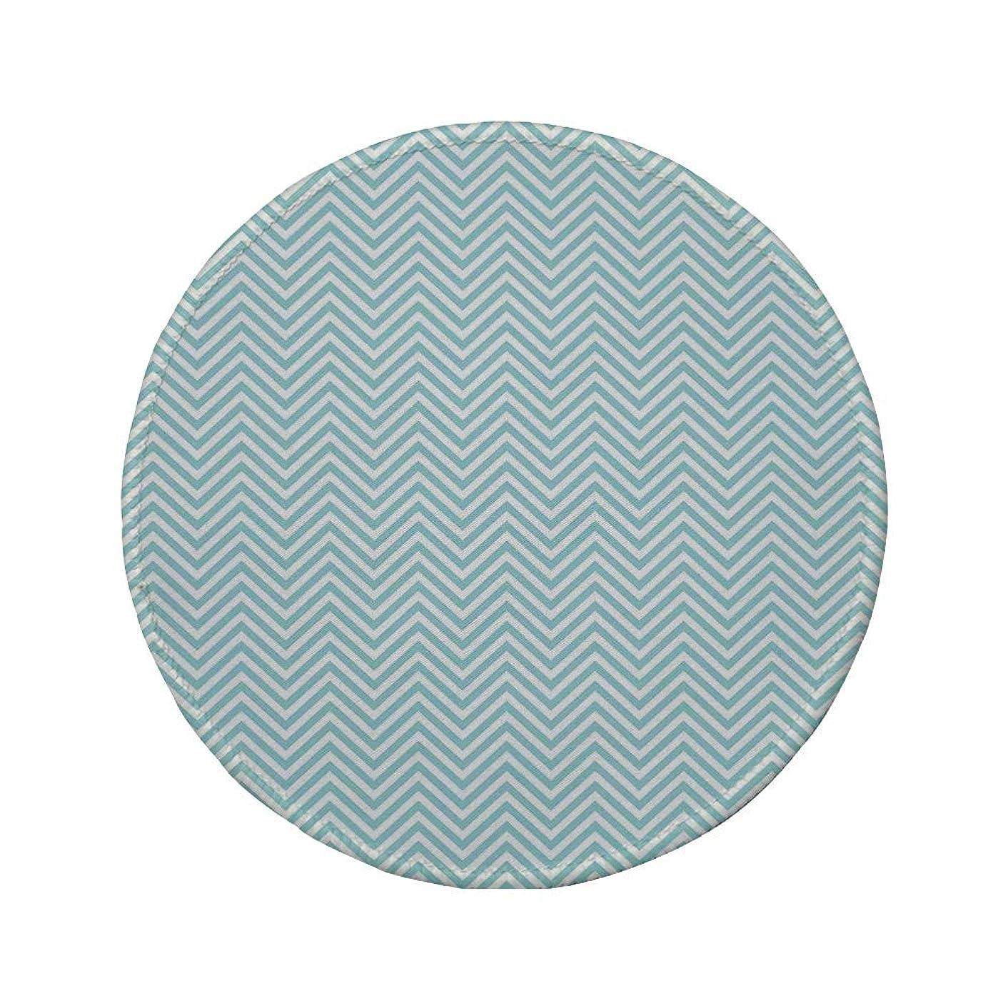Non-Slip Rubber Round Mouse Pad,Retro,Big White Dots Spots Little Circles Shabby Pastel Colors Symmetrical Monochrome,Light Blue White,11.8