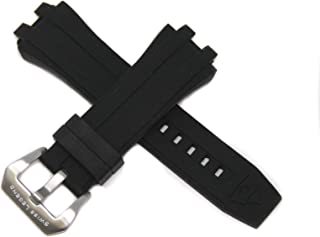 28MM Black Silicone Rubber Watch Strap & Silver Stainless Buckle fits 50mm Challenger Watch