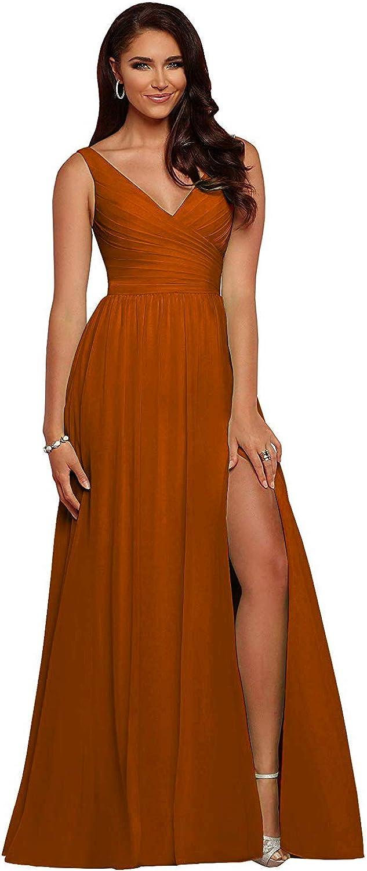 yinyyinhs Slit Bridesmaid Dresses Long V Neck Chiffon Pleated Evening Prom Dress