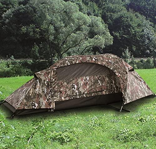 Tienda de campaña 1 Persona Camuflaje MULTITARN Camping de 3 Estaciones con Doble Techo 1000mm, Tienda túnel 1 Persona Miltec