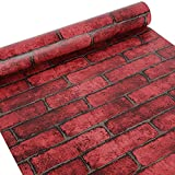 HOYOYO 17.8 x 78 Inches Self-Adhesive Shelf Liner, Self Adhesive Dresser Drawer Paper Wall Sticket Home Decoration, Red Brick