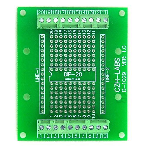 Electronics-Salon DIP-20 Component to Screw Terminal Block Adapter Board, DIP20 PCB.