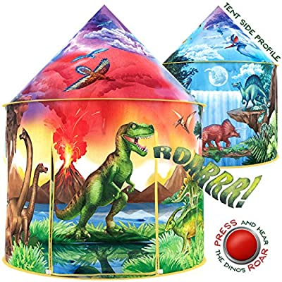 W&O Dinosaur Discovery Kids Tent with Roar Button, an Extraordinary Pop Up Tent for Kids, Dinosaur Toys for Kids Girls & Boys, an Interactive Kids Play Tent, Outdoor and Indoor Tents for Kids