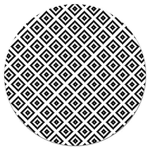 Panorama Tapis du Sol Vinyle Ronde Carrés Noirs 100x100 cm - Tapis de Cuisine en PVC Linoléum Vinyle - Antidérapant Lavable Ignifuge - Tapis pour Cuisine Bureau Salon - Protection du Sol