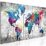 murando Cuadro Mapamundi 150x60 cm Impresión de 5 Piezas Material Tejido no Tejido Impresión Artística Imagen Gráfica Decoracion de Pared Mapa del Mundo Continente k-A-0179-b-p