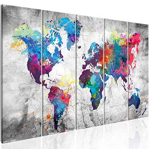 murando Cuadro en Lienzo 200x80 cm Mapamundi Impresión de 5 Piezas Material Tejido no Tejido Impresión Artística Imagen Gráfica Decoracion de Pared Mapa del Mundo Continente k-A-0179-b-p