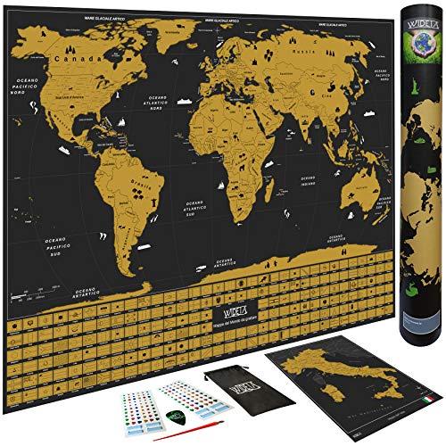 Wideta Weltkarte zum Rubbeln in Italien, mit Länderflaggen, XL (60 x 42 cm) / Extra ausgesuchtes Papier, 300 g/m² und laminiert mit Schutzfolie/Bonus Karte Italien, Zubehör