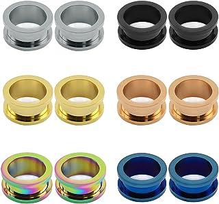 ZeSen Jewelry 6 coppie vite dell'acciaio inossidabile Fit Tunnel Spine carne Expander barella orecchio calibri penetrante
